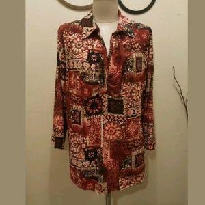 JM Collection Plus Size Top Floral blouse 1XL